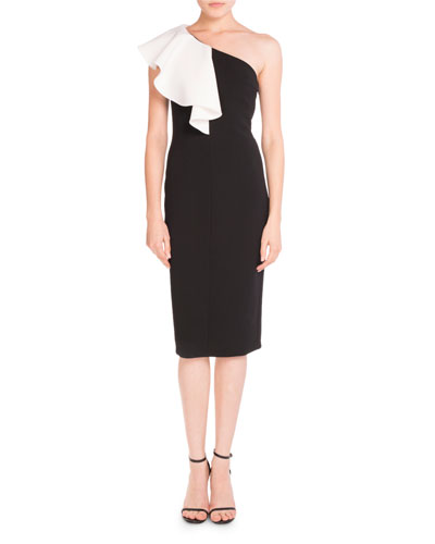 Ruffled One-Shoulder Sheath Dress, Black/White