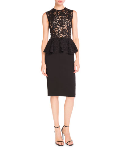 Sleeveless Lace Peplum Pencil Dress, Black