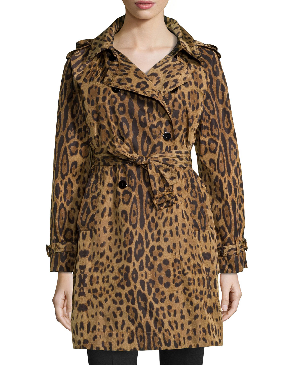 Leopard-Print Trench Raincoat