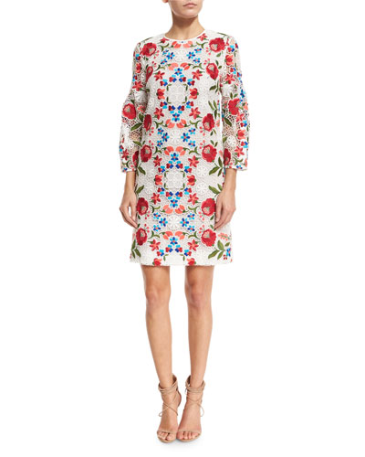 Floral-Embroidered Lace Shift Dress