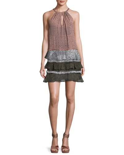 Leomi Printed Sleeveless Tiered Dress, Terracotta Rose/Black/White