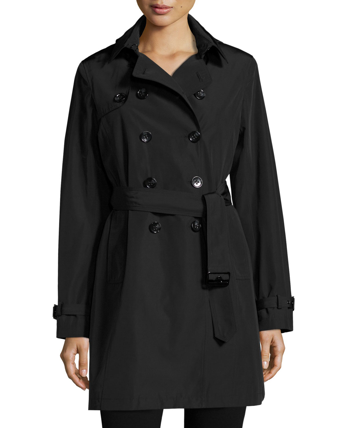 JANE POST Belted Tech-Fabric Trenchcoat in Brown