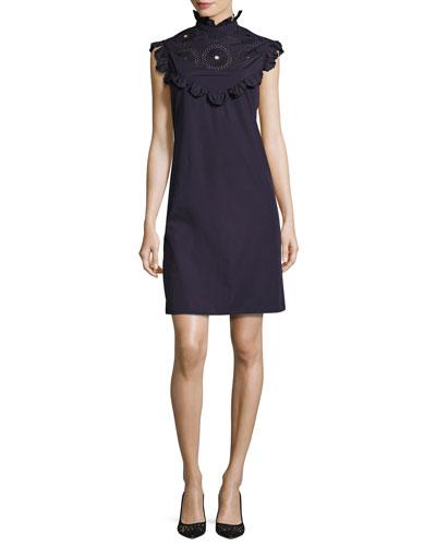 Ruffled Mock-Neck Shift Dress, Purple