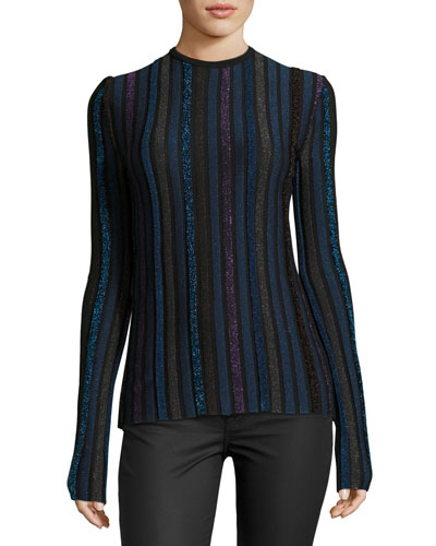Metallic-Striped Knit Sweater, Multi