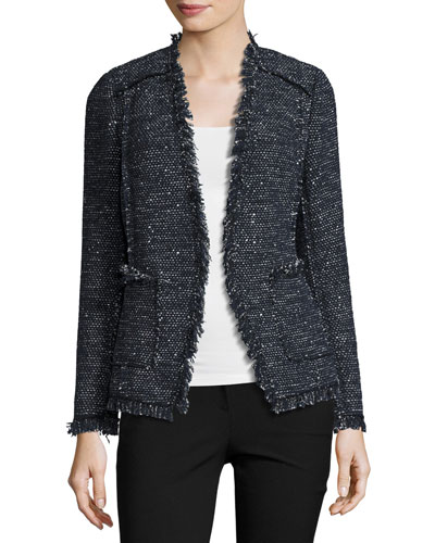 Sparkle Tweed Open-Front Blazer