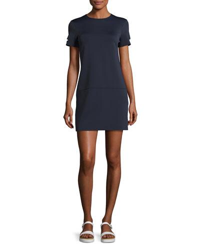 Short-Sleeve Neoprene Shift Dress, Navy
