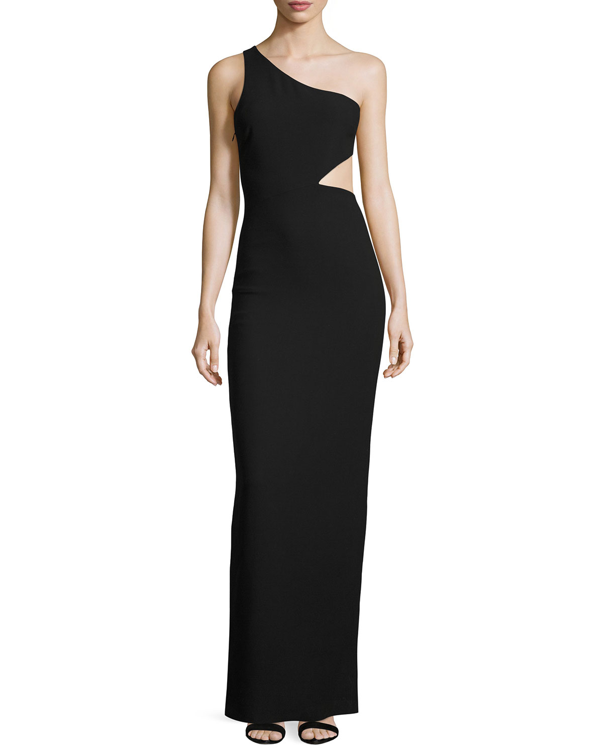 Leonella One-Shoulder Gown, Black