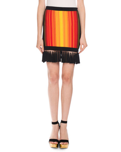 Sunset Fringe Mini Skirt, Red/Orange
