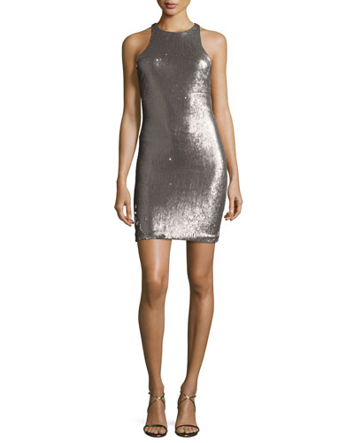 Racerback Sequined Sheath Dress, Silver