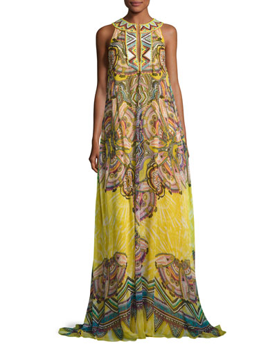 Beaded Silk Keyhole Maxi Dress, Yellow