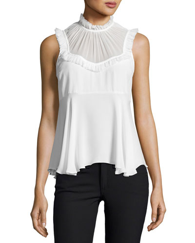 Macao Silk Sleeveless Ruffle Top, Ivory