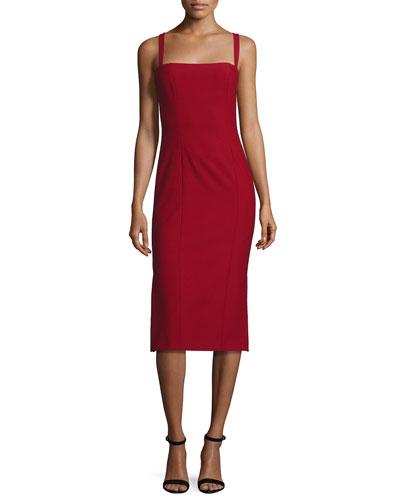 Ela Ponte Sleeveless Midi Sheath Dress, Red