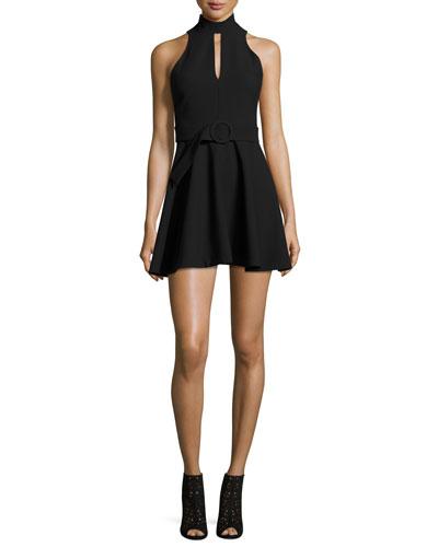 Juni Belted Mock-Neck Mini Dress, Black