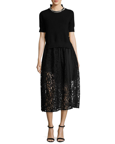 Short-Sleeve Knit & Lace Combo Dress w/Pearly Trim, Black
