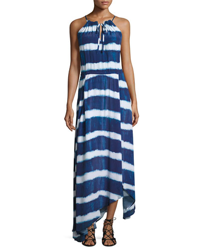 Tie-Dye Striped Maxi Beach Dress, Blue/White