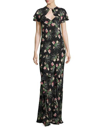 Floral-Print Silk Dress w/Capelet, Black Pattern