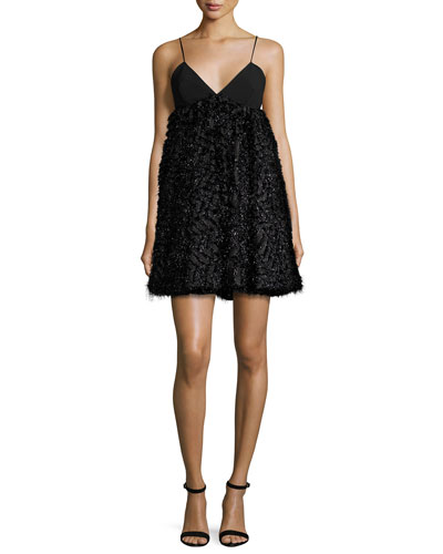Katie Sleeveless Mixed-Media Mini Dress, Black