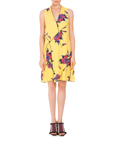 Floral Sleeveless V-Neck Dress, Multi