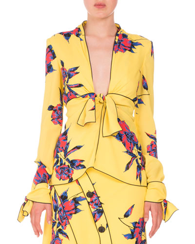 Lily-Print Knotted V-Neck Blouse, Yellow/Blue