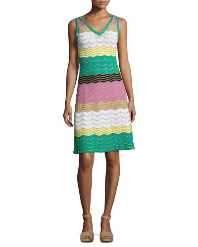 Sleeveless Colorblock Zigzag Knit Dress, Multi