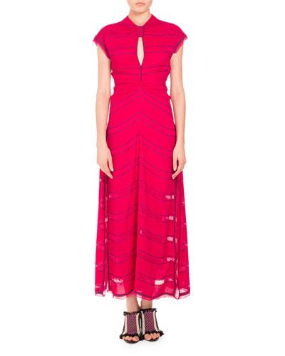 Pinstripe Cap-Sleeve Maxi Dress, Magenta/Blue
