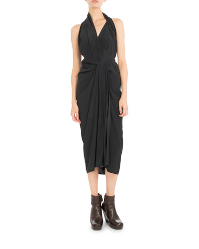 Poplin Halter Wrap Dress, Black