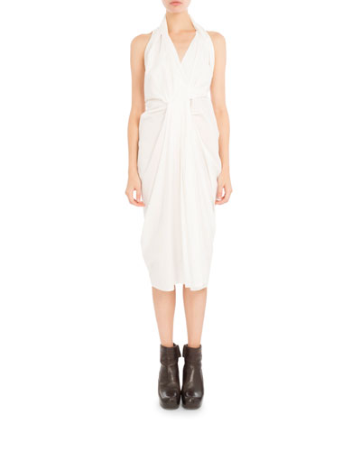 Poplin Halter Wrap Dress, White