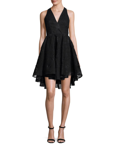 Cynthia Sleeveless Organza Fit-and-Flare Mini Dress, Black