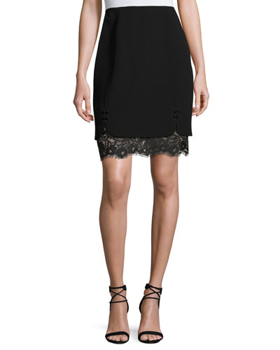 Layered Lace & Crepe Skirt, Black (Noir)