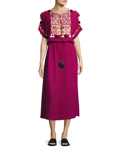 Short-Sleeve Tie-Waist Midi Dress, Magenta
