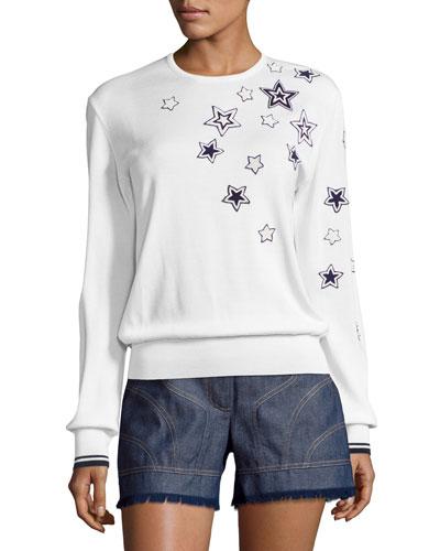 Star-Embellished Long-Sleeve Knit Top