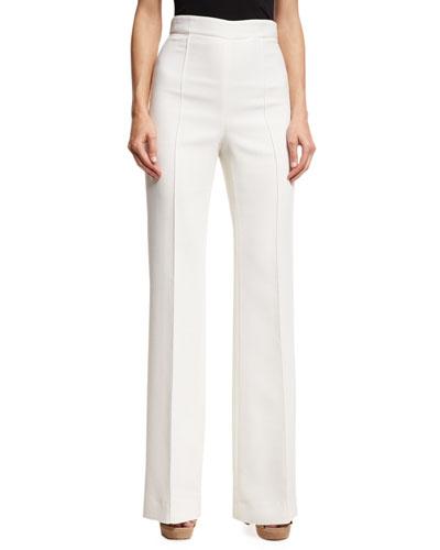 High-Waist Straight-Leg Pants, White