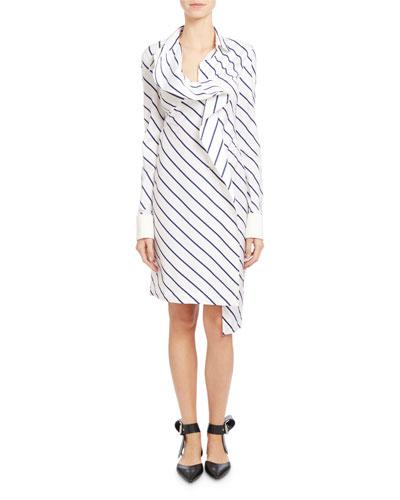 Ruffle-Front Pinstripe Shirtdress