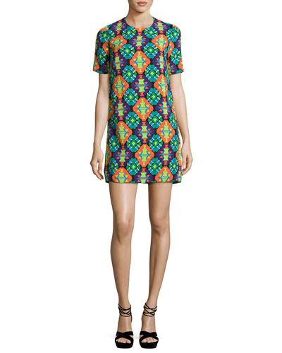 Geometric-Print Short-Sleeve Shift Dress, Purple