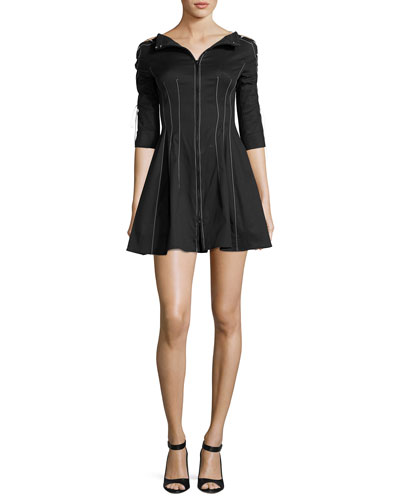 Laced-Sleeve Fit-&-Flare Dress, Black