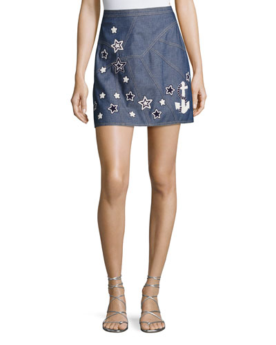 Star-Embroidered Denim Skirt