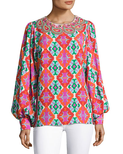 Embroidered Geometric-Print Top