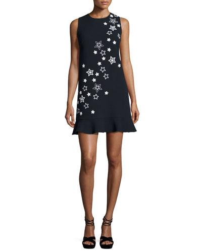 Star-Embroidered Flounce-Hem Dress, Navy