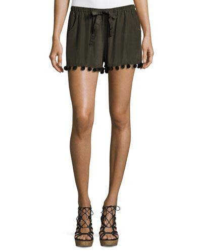 Tassel-Trim Silk Shorts, Dark Green
