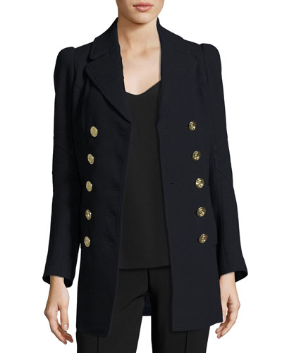 Double-Breasted Military Wool Coat