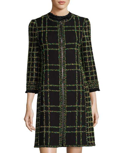 Zip-Front Garden Tweed Coat