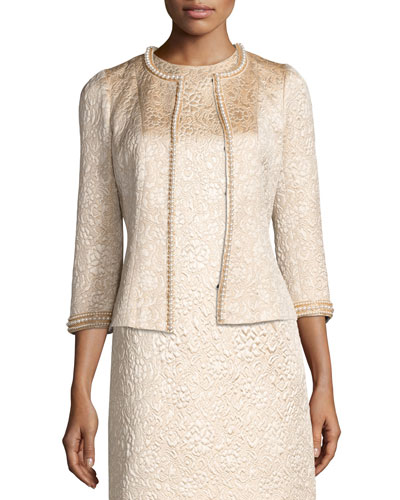 Pearly Beaded Jacquard Jacket