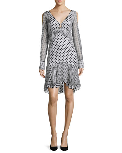 Long-Sleeve Mixed Polka-Dot Dress, Multi