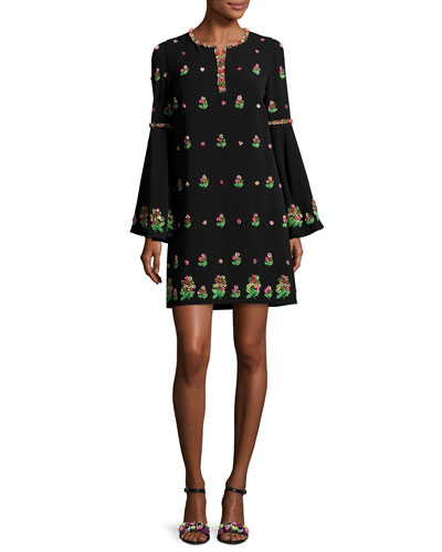 Embroidered Crepe Bell-Sleeve Dress