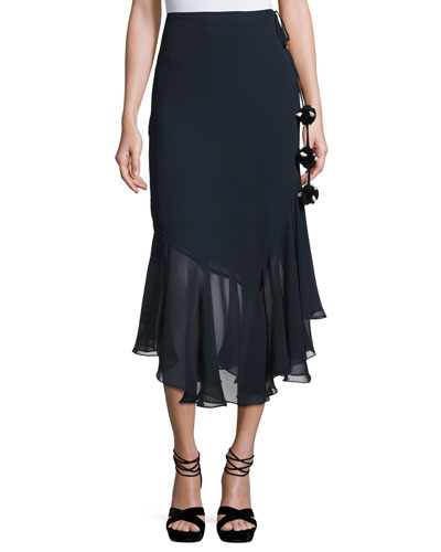 Ruffled Silk Midi Skirt, Navy