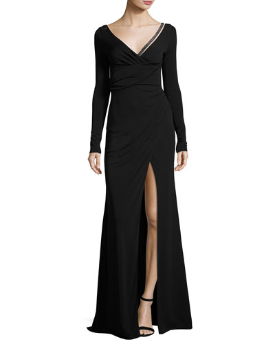 Beaded V-Neck Long-Sleeve Gown, Black