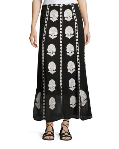 Embroidered Silk Maxi Skirt, Onyx