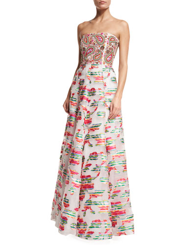 Beaded Paisley Strapless Gown, White