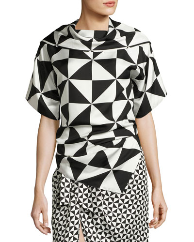 Geometric-Print Silk Top, Black/White