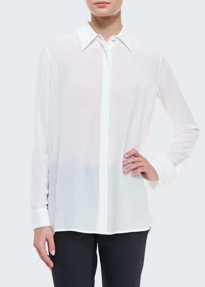 Long-Sleeve Collared Blouse, Black